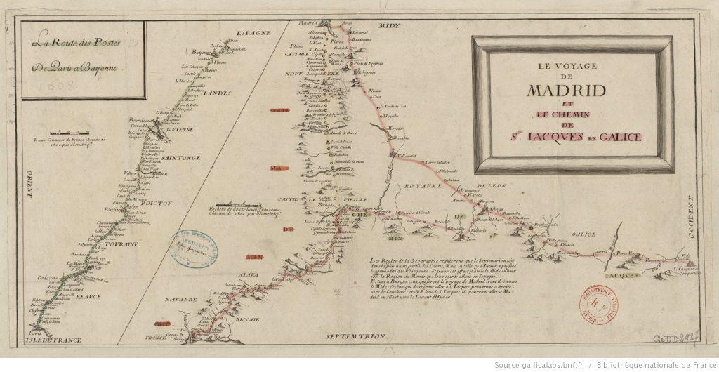 Carte de la route des Postes de Paris à Bayonne datant de 1659