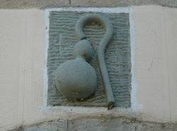 sculptures de bâton et bourse du pèlerin
