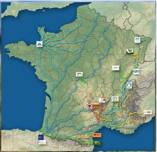 Cart des grands itinéraires pédestres ne Frrance